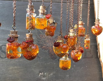 "Vial amulet ""Sun in a bottle"" joy and harmony. Red Jasper, Carnelian, amber, stone of the Sun"