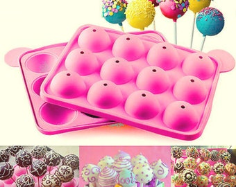 DIY Cake Silicone Lollipop Pop Mould Mold Baking Tray Stick Party