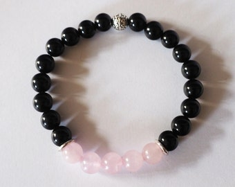 Rose Quartz and Black Onyx Beaded Bracelet