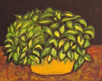 golden pot with plant acrylic painting