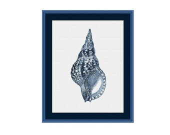 Seashell cross stitch chart, Triton shell cross stitch pattern,  instant download, PDF file, digital download