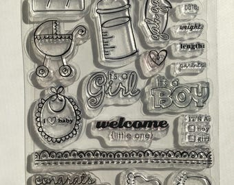Welcome Little One Clear Stamp set / Scrapbooking / Card Making Supplies / Art and Crafts / Baby / New Parents / Motherhoos