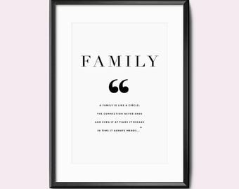 Print / Poster, 'Family', Wall Art, Modern, Minimal, Wall Decor, Home Decor, Inspirational Print, Quote Print, Scandinavian, Typography