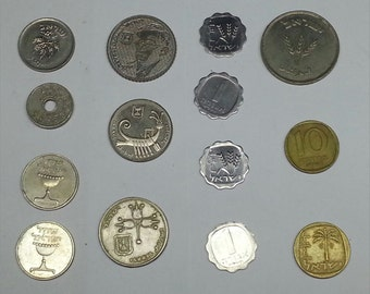 lot of 14 rare old coins from israel; Shekel, Prota, Lira, token (Asimon) for publc phone, silver color, vintage  collactable coin