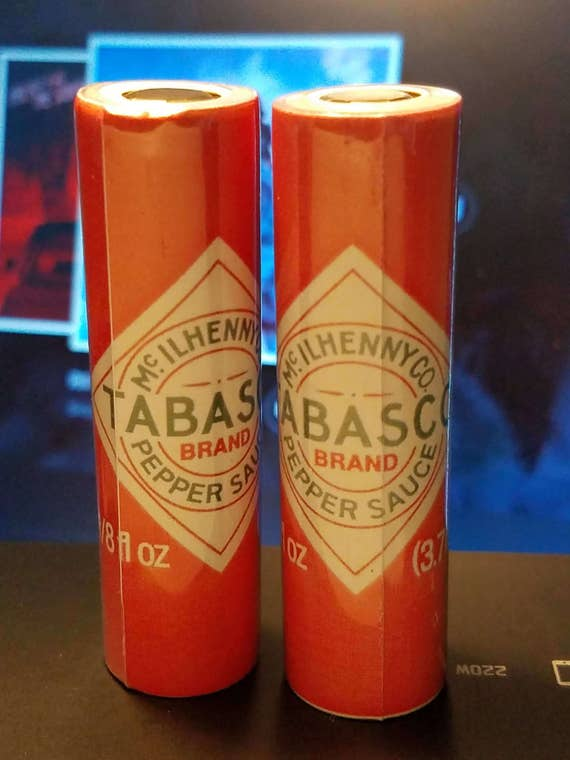 One pair of custom battery wraps tabasco from