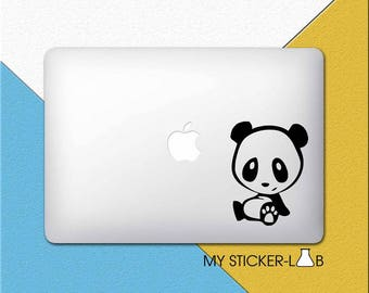 Panda MacBook Decal Panda MacBook Sticker Panda Decal Panda Apple Decal Panda Laptop Decal Tiny Panda Black and White Panda Bear Decal m193