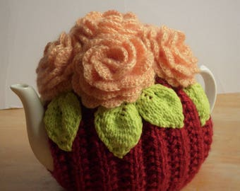 Flower teapot cosy/ Knitted teapot cosy/ Pink flowers teapot cosy/ Handmade teapot cozy/ Roses teapot cosy