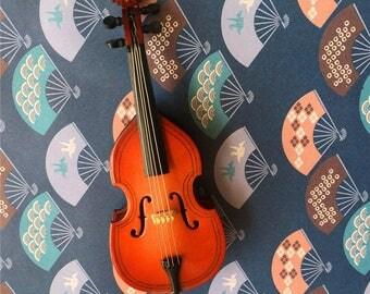 Handmade Instrument Miniature, Magnet Bass Ornament, Handmade Wooden Bass Miniature Fridge Magnet