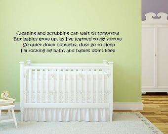 "Nursery bedroom wall vinyl decal graphic mural ""Babies Don't Keep"" poem brand new"