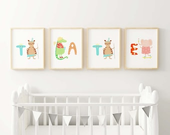 Cute Animal Letters Fine Art Print - Spell out your baby's or child's name for a  personalized look for their room or nursery