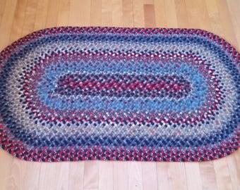 Handmade 100% wool braided rug