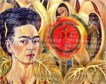 Quilting Cotton Fabric Block Frida Kahlo Paintings Collage Premium Cotton