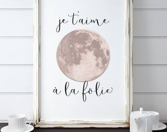 French Phrase Print. Je T'aime à la Folie. Love you to the moon and back. Insta Download. Home Decor.