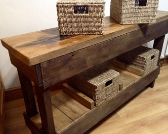5ft Vintage Rustic Wooden Kitchen Island Hall Console Table with Storage