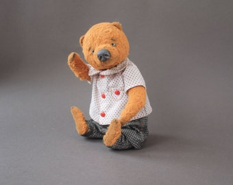 Teddy Bear Ignat Handmade Teddy Bear Stuffed Animal Toy OOAK teddy bear Artist toy by Ekaterina Zhiteneva