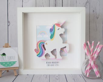 Wooden Unicorn Frame, new baby gift, nursery decor, personalised gift, christening gift, birthday gift, box frame, rainbow frame, glitter