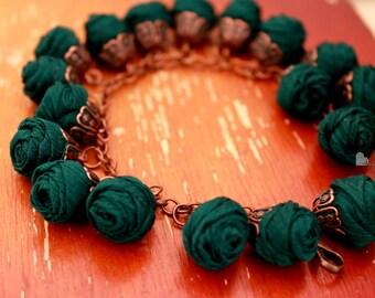 Fabric bracelet Rose bracelet Blue textile bracelet Fabric jewelry Flower bracelet Floral jewelry Clusters bracelet Friendship bracelet