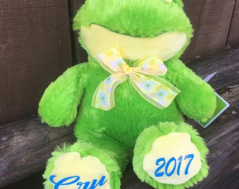 Personalized Frog/ Green frog/ Stuffed frog/ Easter gift/ Birthday gift/ Baby gift/ Personalized animal/