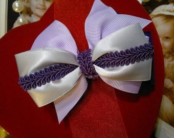 Vintage inspired deep purple, satin, light purple Grosgrain and rose Deep purple rope Handmade stacked Hair Bow