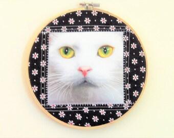Cat Hoop Art , Embroidery Hoop Art, Quilted Cat Decor, Quilted Fiber Art, Hoop Decor, Quilted Wall Decor, Quiltedartcreations