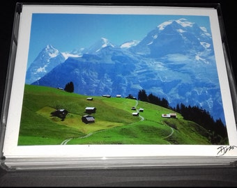 12 Swiss Photo Note Cards, Switzerland's Majesty including- Lucerne, Jungfrau, Matterhorn, Grindelwald, Swiss Mountains & Lakes