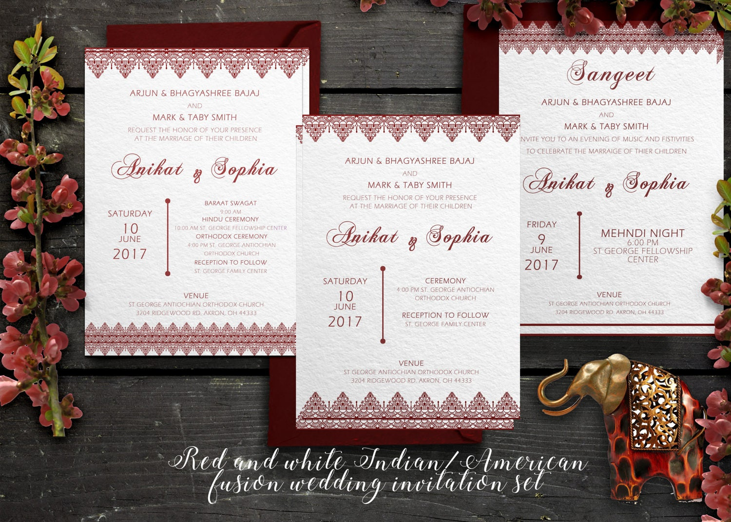 Indian American Fusion Wedding Invitations red and white – Red White Wedding Invitations