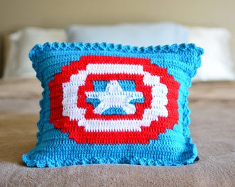 Crocheted Captain America Pillow