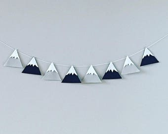 Black & Gray Mountain Banner | Felt Mountain Wall Hanging | Nursery Wall Art | Home Decor | Felt Garland | Mountain Decor | Wall Art | Baby