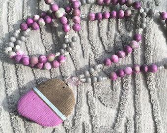 Charoite and Jade driftwood mala necklace