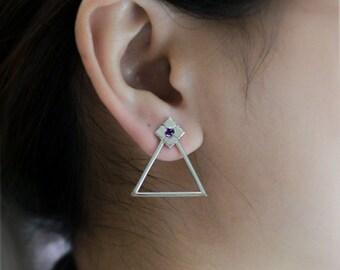 Art Deco Earrings in 925 sterling silver with gemstones