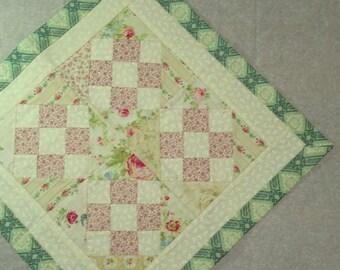 Green Patchwork square centerpiece-cream