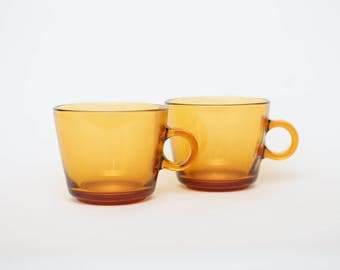 Amber Glass Tea Cups x 2