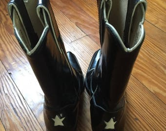 Vintage, Faryl Robin, Black Patent Leather, Cowboy Boots, w/stars, Size 7