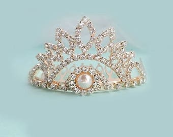 Mini Crown , Gold  Rhinestone Crown, Child's Crown Mini Crown , Birthday Party., Special Day  C-0022