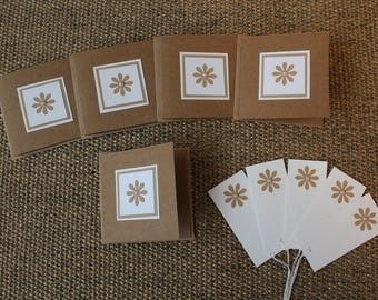 5 blank Flower card and gift tags
