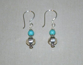 Bali Silver Bead Earrings with Blue Turquoise Accent