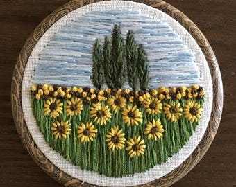 Sunflowers and Cypress