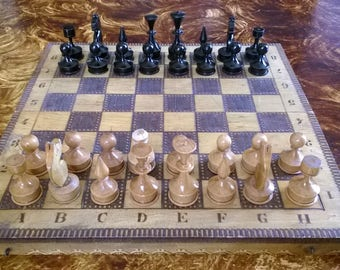 """10% OFF, Chess, Chess Set, 13.4'' x 13.4"""", Vintage chess set, Wooden Chess Board, Chess Game, Wooden Chess Game, Vintage Time Crafts"""