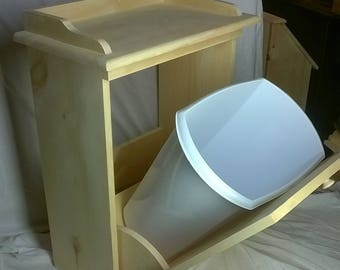 Primitive Pine Wood Pull Out Trash Can Enclosure