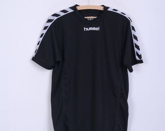 HUMMEL Mens L Shirt Black Sport Crew Neck Short Sleeve