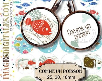 COMME UN POISSON Digital Collage Sheet Printable Instant Download for art jewelry scrapbooking bottle caps magnets pins