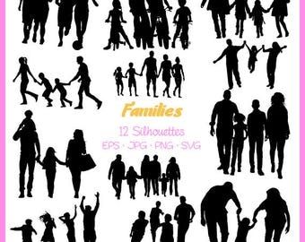 Families Silhouette, Families Silhouette, svg, png,eps, jpg Digital Files, Cut Files, Svg files for silhouette,  DSC-029