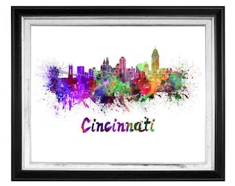 Cincinnati Skyline Watercolor, Cincinnati Art Print, Cincinnati Skyline, Cincinnati Wall Art, Cincinnati OH, Cincinnati Cityscape, Wall Art