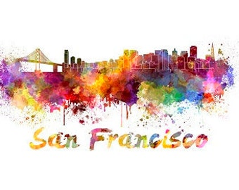 San Francisco Skyline Watercolor, San Francisco Art Print, San Francisco Skyline, San Francisco Wall Art, San Francisco photo,