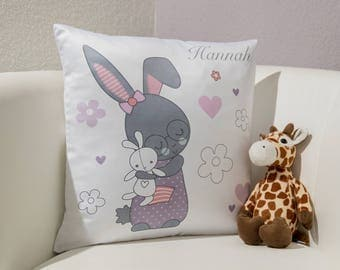 "Pillow ""Stuffed Bunny"" with name / your name"