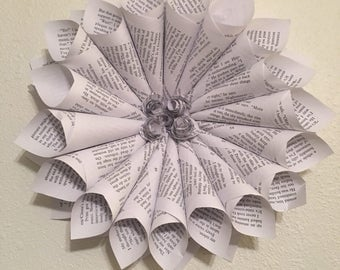 Catching fire book page wreath