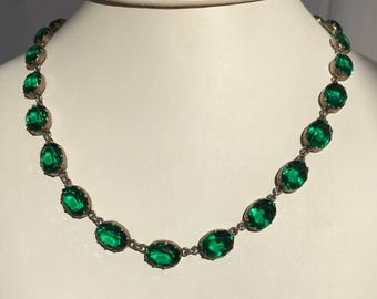 Emerald green paste antique glass and sterling silver riviere necklace