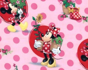 Minnie Mouse Smell the Flowers Characters on Pink Polka Dot Disney Cotton Fabric - FQ