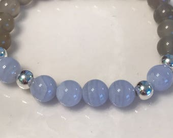 Blue lace agate, moonstone, sterling silver -calms nervousness - lessens anger- relief from emotional stress