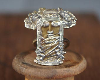 French Stamped Brass Antique Style Art Nouveau Exotic Egyptian Woman Ring